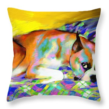 Cute Boxer Dog Portrait Painting Throw Pillow by Svetlana Novikova