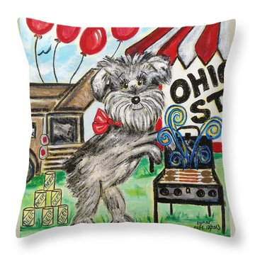 Osu Tailgating Dog Throw Pillow by Diane Pape