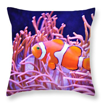 Cute Clown Fish Throw Pillow by Mindy Bench
