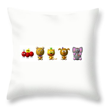 Cute Critters With Heart A To E Throw Pillow by Rose Santuci-Sofranko