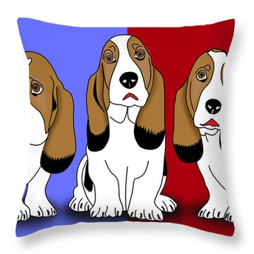 Cute Dogs 2 Throw Pillow by Mark Ashkenazi