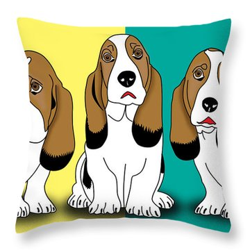 Cute Dogs  Throw Pillow by Mark Ashkenazi