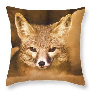 Cute Fox  Throw Pillow by Brian Cross