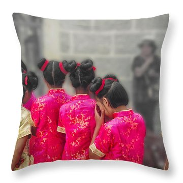 Cute Girls Throw Pillow
