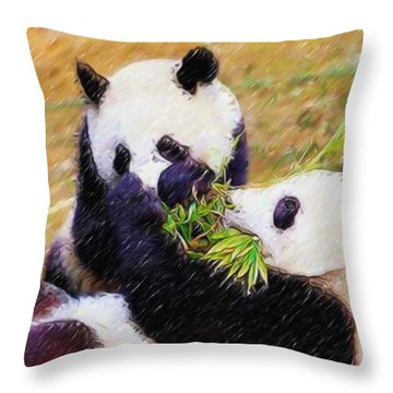 Cute Pandas Play Together Throw Pillow by Lanjee Chee