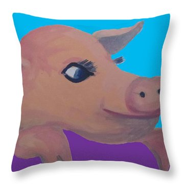 Cute Pig 1 Throw Pillow by Cherie Sexsmith