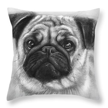 Cute Pug Throw Pillow by Olga Shvartsur