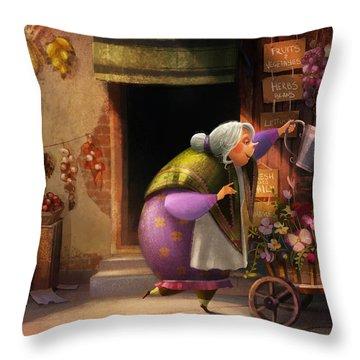 Cute Village Flower Shop Throw Pillow
