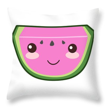 Cute Watermelon Illustration Throw Pillow by Pati Photography