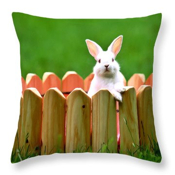 Cute White Rabbit  Throw Pillow by Lanjee Chee