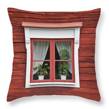Cute Window On Red Wall Throw Pillow