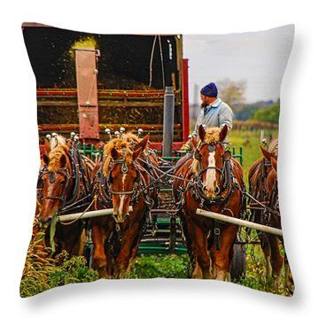 Cutting Silage 2 Throw Pillow
