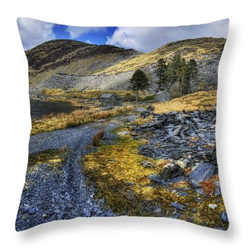 Cwmorthin Landscape Throw Pillow by Ian Mitchell