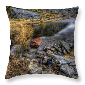 Cwmorthin Slate Quarry Throw Pillow by Ian Mitchell