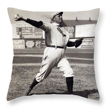 Cy Young - American League Pitching Superstar - 1908 Throw Pillow by Daniel Hagerman