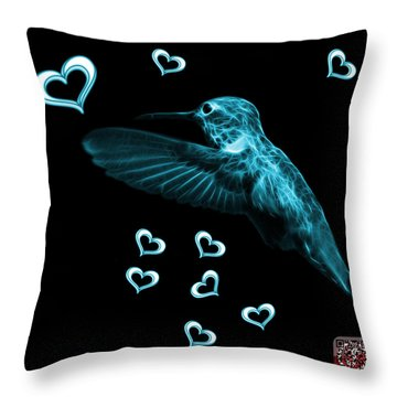 Cyan Hummingbird - 2055 F M Throw Pillow