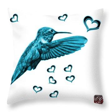 Throw Pillow featuring the digital art Cyan Hummingbird - 2055 F S M by James Ahn