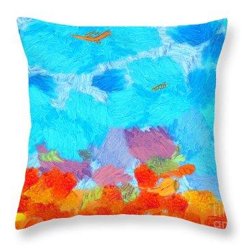 Cyan Landscape Throw Pillow by Pixel Chimp