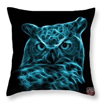 Cyan Owl 4436 - F M Throw Pillow by James Ahn