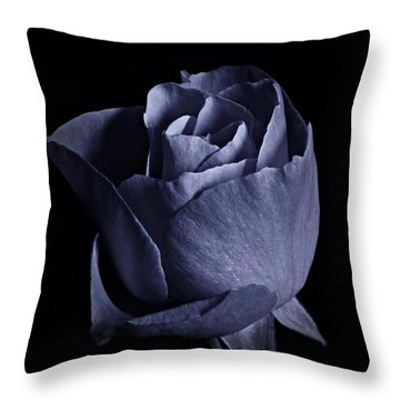 Cyan Rose Portrait Throw Pillow