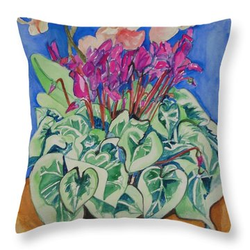 Cyclamen And Orchids In A Flower Pot Throw Pillow by Esther Newman-Cohen