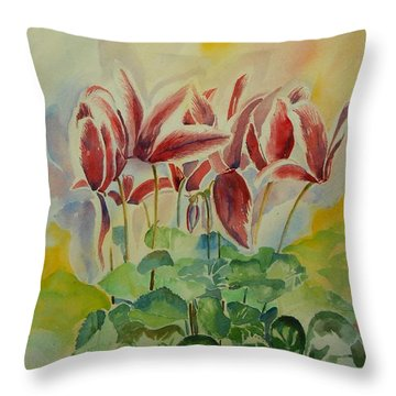 Cyclamen Still Life In Watercolor Throw Pillow by Geeta Biswas