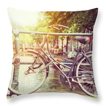 Cycle In Sun Throw Pillow