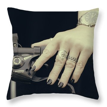 Throw Pillow featuring the photograph Cycling Lady by Ari Salmela