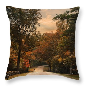 Cycling Season Throw Pillow by Jai Johnson