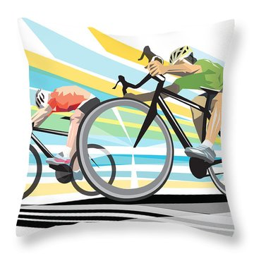 Cycling Sprint Poster Print Finish Line Throw Pillow