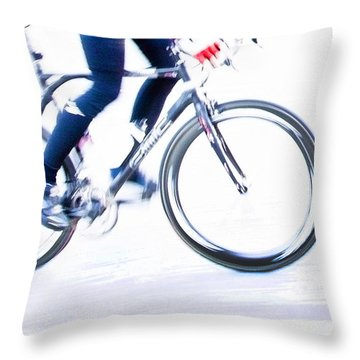 Cycling Throw Pillow by Theresa Tahara
