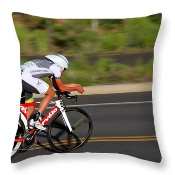 Throw Pillow featuring the photograph Cycling Time Trial by Kevin Desrosiers