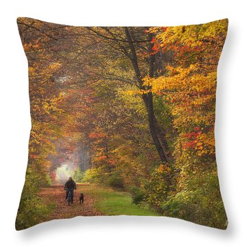 Cyclist And Dog Throw Pillow