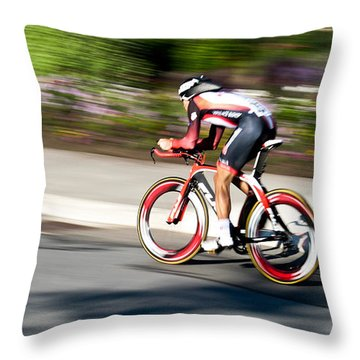Throw Pillow featuring the photograph Cyclist Racing The Clock by Kevin Desrosiers