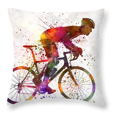Cyclist Road Bicycle Throw Pillow
