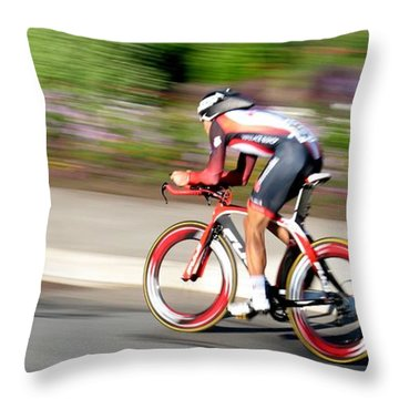 Throw Pillow featuring the photograph Cyclist Time Trial by Kevin Desrosiers