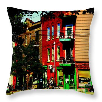 Cyclists Crossing Rue Clark Corner Wilensky Spring Street Scene Montreal Art Carole Spandau Throw Pillow by Carole Spandau