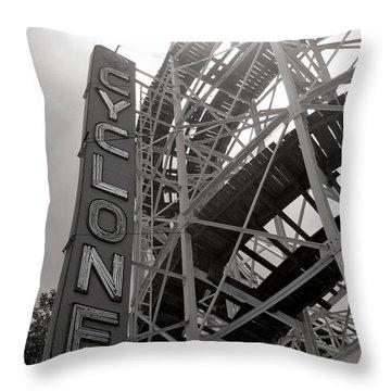 Cyclone Rollercoaster - Coney Island Throw Pillow by Jim Zahniser