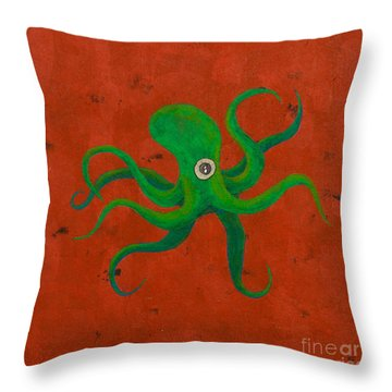 Cycloptopus Red Throw Pillow