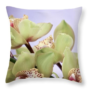 Cymbidium Orchids  Throw Pillow