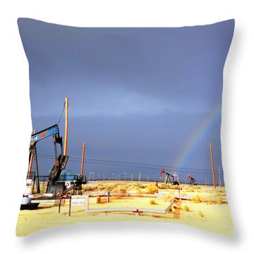 Throw Pillow featuring the photograph Cymric Field Rainbow by Lanita Williams