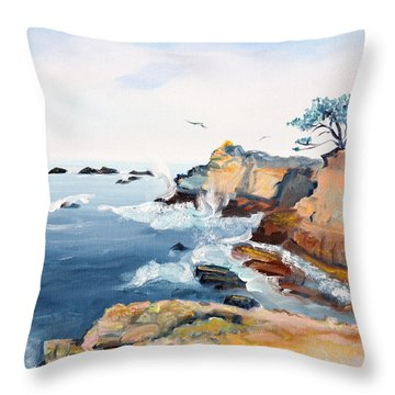 Throw Pillow featuring the painting Cypress And Seagulls by Asha Carolyn Young