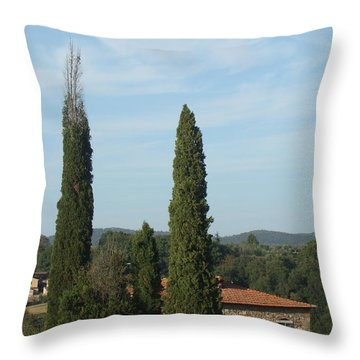Cypress In Rapolano Throw Pillow
