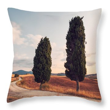 Cypress Lined Road In Tuscany Throw Pillow by Matteo Colombo