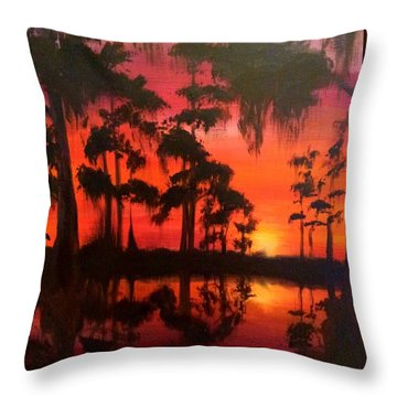 Cypress Swamp At Sunset Throw Pillow