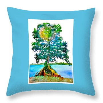Da107 Cypress Tree Daniel Adams Throw Pillow