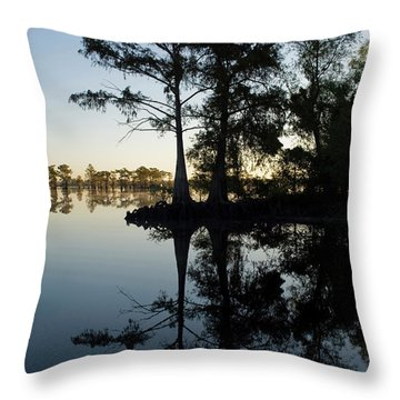 Cypress Trees In Atchafalaya Basin Throw Pillow