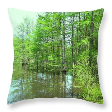 Bright Green Cypress Trees Reflection Throw Pillow by Belinda Lee