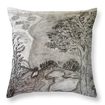Cypresses In Cyprus Throw Pillow by Augusta Stylianou