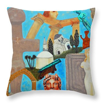 Cyprus History Throw Pillow by Augusta Stylianou